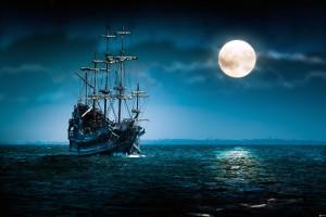 hollandais-volant,-bateau-a-voile,-navire,-lune,-lune-pleine,-la-mer-sombre-163150